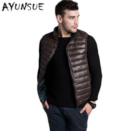 Wholesale Reversible Down Jacket - Wholesale- Men Slim Vest Ultra Light Duck Down Vest Reversible Two Sided Wear Waistcoat Vest Sleeveless Jacket Autumn Winter Coat YYJ0030