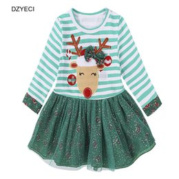 Wholesale deer dresses - Christmas Dress For Baby Girl Tunic Xmas Kid Long Sleeve Striped Cartoon Deer Lace TUTU Dress Children Clothes