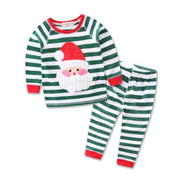 Wholesale Cheap Girls Outfits - Faster shipping Cheap price Kids Girls 2 Pieces Christmas Santa Long Sleeve Shirt Pants Outfit Set
