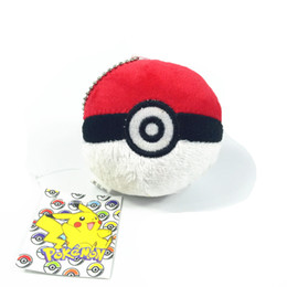 Wholesale Wholesale Shopping Tv - Pocket monster red ball 8cm Soft Plush Toy Pikachu Ball Pokeball for children Key chain bag room office shop decorations