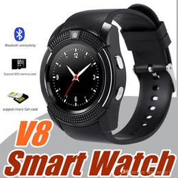 Wholesale I Android - 20X V8 Smart Watch Bluetooth Watches Android with 0.3M Camera MTK6261D DZ09 GT08 Smartwatch for android phone with Retail Package I-BS