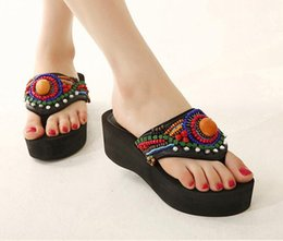 Wholesale Beaded Flip Flop Slippers - Chaussure Enfant Fille Special Offer Black Women Kitten Heel The New National 2016 Liebo Sandals Female Muffin Beaded Slippers Cool Summer
