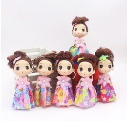 Wholesale 12cm Baby Dolls - Wholesale Vinyl Toys 12cm Mini Confused Doll Wedding Dolls Hat Curly Hair Wedding Dress Girls Pendant Toy Nice Deco Gifts