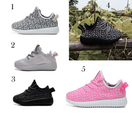 Wholesale Lace Up Boots Cheap - 5 Color kids West 350 Boost sneakers baby Boots Shoes Running Sports Shoes booties toddler shoes cheap Sneakers Training B001