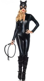 Wholesale Leather Costumes For Men - Wholesale-NEW Arrival adult Costume Cat Women Leather Jumpsuit Night Prowler Sexy Clubwear Catwoman Zentai Catsuit for Halloween M-2XL