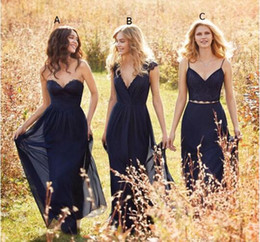 Wholesale Chiffon Two Color - 2016 Navy Blue Boho A Line Chiffon Long Bridesmaid Dresses Hayley Paige Convertible Bridesmaid Dress Two Pieces Prom Party Dresses