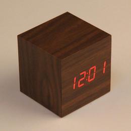 Wholesale Cheap Mechanical Clocks - Cheap Cube LED Alarm Clock Temperature Sounds Control display electronic desktop Digital Wooden table clocks Free Shipping E5M1 order<$18no
