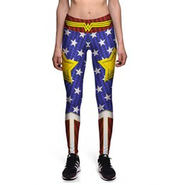 Wholesale Sexy Wonder Women - NEW 0079 Sexy Girl Women Comics Avengers Wonder Woman Old Glory 3D Prints High Waist Running GYM Tights Fitness Sport Leggings Yoga Pant