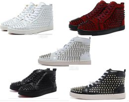 Wholesale Designer Shoe Waterproof - 2017 wholesale Men's Genuine Leather High Top Fashion Red Bottom Sneakers,Lovers Designer Genuine Leather with rivet Casual Shoes 39-47 d