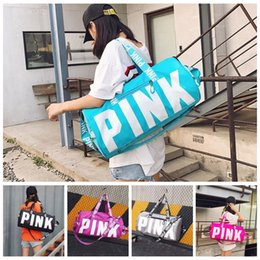 Wholesale Large Pink - Large Pink Letter Handbags 5 Colors VS Pink Shoulder Bags Large Capacity Travel Duffle Striped Waterproof Beach Bag 50pcs OOA2764