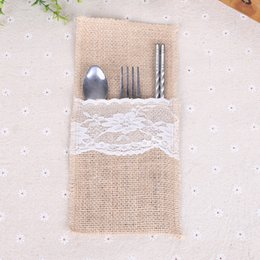 Wholesale Laced Wedding Invitations - European Style Tableware Bag Wedding Party Decoration Articles For Jute Lace Knife Fork Storage Cutlery Pouch 1 5lq C R