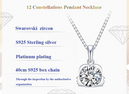 Wholesale Swarovski Best - DHL FREE S925 Silver 12 Zodiac Signs Constellations Pendants Necklace Swarovski Zircon Pendant necklace with Box Best Christmas Gift
