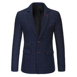 Wholesale European Clothing Men Jacket - Wholesale-2016 New Designer Mens Grid Suit Blazer Brand-Clothing For Men European Style Men's Blazers and Suit Jackets Wedding Coats