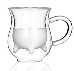Wholesale Glass Zakka - Fan zakka teatime creative small dairy cow clear double wall glass cup milk coffe fruit juice