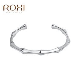 Pulseira de ouro branco senhoras on-line-Atacado- 2016 ROXI Brand New Punk Trendy White Gold Cor Abertura Ajustável Cuff Bangle Bracelet para Mulheres Ladies Girls Fashion Jewelry