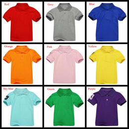 Wholesale Polo Boys - 13 colors summer boys polo shirt short sleeve children Breathable Summer tops kids brand shirts 2-7 boy girl solid color shirt