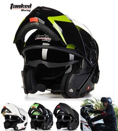 Wholesale Tanked Racing Open Face Helmet - 2016 New male Tanked Racing open face motorcycle helmet with Bluetooth dual lens undrape face motorbike helmets of ABS 5 colors