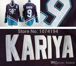 Wholesale Nhl Jersey Number - Free shipping High Quality CCM NHL Anaheim Ducks Jersey,#9 Paul Kariya Purple Hockey Jersey,Stitched 100% Name,Number and Logos