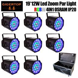 Wholesale Display Brackets - Gigertop 8IN1 Road Case Pack RGBW 4IN1 Motorized Zoom LED Pro Par Indoor IP20 4 Digit LED display Split Yoke up-light bracket Hanging Hook