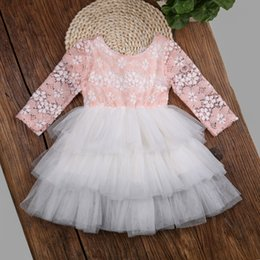Wholesale Wholesale Long Sleeve Mesh Dress - Children Girl's lace dress Long sleeve Mesh layers Back Bow Beads Princess Tutu dress 2017 Autumn