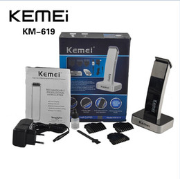 Wholesale Haircut Beard Trimmer - KEIMEI KM-619 Electric Rechargeable Hair Cipper Electric Shaving Machine Razor Barber Cutting Beard Trimmer Haircut Set UE PLUG 0604059