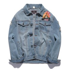 Wholesale Pocket Jeans - Palace Denim Jacket Men Jeans Jacket Slim Hip Hop Yeezus Tour Brand Clothing Streetwear Palace Denim Jackets