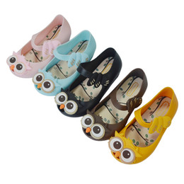 Wholesale Peep Toe Jelly Shoes - New Baby Girls Owl Cartoon Sandals 2016 Babies Mini Melissa Jelly Peep Toe Shoes Toddler Princess Cute Original Quality Soft Shoe
