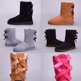 Wholesale Flat Heels - 2017 winter Australia Classic snow Boots High Quality WGG tall boots real leather Bailey Bowknot women's bailey bow Knee Boots shoes