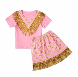 Wholesale Style Kids Outfits - Baby Girls Tassel Sets 2016 New Kids Girl Polka Dot Print T-shirt + Tassel Skirt 2pcs Suits Princess Outfits Children Clothing TL176-11