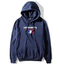 Wholesale Haute Couture - Fashion 17fw Vetements Oversized Embroidery France Flag Hip Hop Hooded Haute Couture Sweatshirts Long Sleeve Hoodie