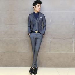 Wholesale Upscale Vest - Wholesale-( Jacket + vest + pants ) new 2016 men's fashion groom wedding dress wedding suits   Male upscale boutique grid business suits