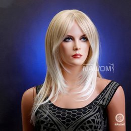 Wholesale Blonde Wig Skin - W3471 Red Brown Color W3472 Blonde Color White Skin Women Medium Long Straight Hair Full Wig Synthetic Ladys' Hair