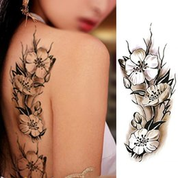 Wholesale Tattoos Sexy Woman - Sexy Women Temporary Tattoo Plum Blossom Waterproof Tattoo Stickers 9*18.5cm Body Art Tattoo Flower