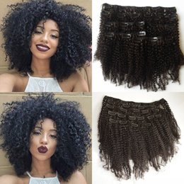 Wholesale Mongolian 1b Curly - Brazilian Virgin Afro Kinky Curly Clip in Hair Extensions,100% Human Hair Clip In curly Hair Extensions,7Pcs set,Color 1B G-EASY