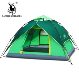 Wholesale Blue Hydraulics - 2017 New Arrival 3-4 person Tents Hydraulic Automatic Windproof Waterproof Double Layer Tent Outdoor Hiking Camping Tent DHL Shipping