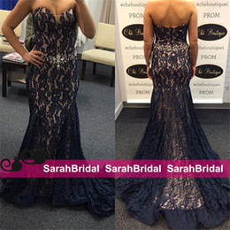 Wholesale Slim Fit Sweetheart Lace - 2016 Hot Dark Navy Mermaid Pageant Prom Dresses with Sparkly Rhinestone Beaded Crystals Waist Slim Fit Long Arabic Evening Party Gowns Cheap