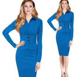 Wholesale Women Office Wear Cheap - 2017 Spring Cheap Women Casual Dresses Faux Twinset Wear to Work Casual Fitted Sheath Bodycon Fashion Office OL Dresses FS0810
