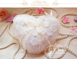 Wholesale Heart Shaped Lace Ring Pillow - 2016 Pearl Lace Fashion Bridal Ring Pillow with Ribbon Satin Lace Flower Love Heart Shape Pillows Bridal Supplies Wedding Favors Box