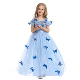 Wholesale Cinderella Snow New Cartoon - New Girls Party Dresses With 3D Butterfly Children Costume Girls Wedding Dress Cinderella Clothes For Girls Cosplay Snow Queen