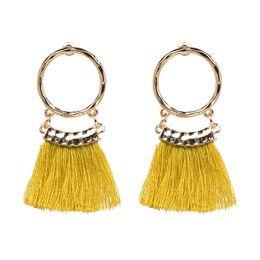 Wholesale Earrings Colorful Stones - Ethnic Colorful Tassel Earrings Pendant Bohemian Earrings for Women Fringe Earrings with Stones Vintage Jewelry