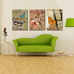 Wholesale Huge Wall Art Frame - 3 Piece Huge Modern Abstract Wall Decor Art Canvas Painting with Butterfly in the Dream Oil Painting on Canvas Home Decoration No Frame