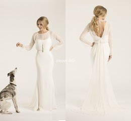 Wholesale Low Back Chiffon Wedding Gowns - Sheath Crew Neck Low Back Amy Kuschel Couture Boho Wedding Dresses With Illusion Long Sleeves Chiffon 2016 Simple Bridal Gowns Sweep Train
