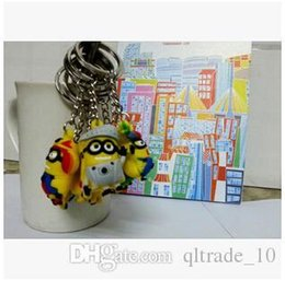 Wholesale 3d Minion Keyring - 700pcs CCA2113 2015 Hot 10 Styles 3cm 3D Despicable Me3 Minions Action Figure Keychain Keyring Cute Promotion Gifts Card Package Accessory