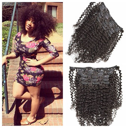 Wholesale free stocking clips - 7pcs kinky curly Clip In Hair Extension 12-26inch Brazilian Human Hair weave natural black 120g set In Stock G-EASY Free Shipping