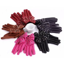Wholesale Gloves Bow Rivet - Elegant Women's High-Street 5 Solid Colors Gloves Sweet Bow Rivets Soft PU Leather Short Gloves