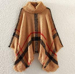 Wholesale cotton cloaks - New Autumn Winter woman big girls classic plaid cloak High collar shawl Poncho fashion Loose plaid Bat shawl 28 colors DHL C1549