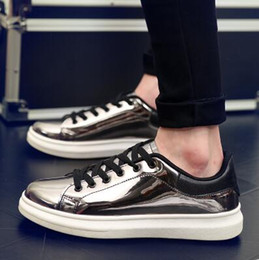 Wholesale Crust Rounding - New men Glossy Shiny patent leather platform shoes Thick crust Trifle Hip-hop Casual shoes tide