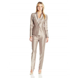 Wholesale Ladies Business Trousers - Jacket Pants Skinny Brown Women Evening Business Pant Suits Formal Ladies Autumn Trouser Suits Female Office Uniform Custom Made