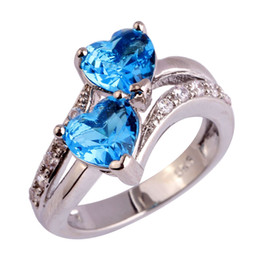 Wholesale Pure Rhodium Jewelry - AAA CZ Lab Women Pure Blue Topaz Gems Jewelry 18K Gold Plated Silver Ring Size 6 7 8 9 10 11 12 Free Shipping Wholesale