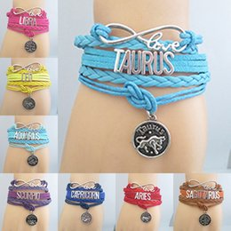 Wholesale Zodiac Friendship Bracelet - Ladies Lolita the Constellation Alphabet Friendship Bracelet Fancy Dress Party Daily Wearing Horoscope Charm Bracelets Prom Birthday Gift